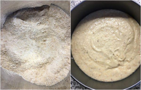 preparazione torta vegana alle nocciole con crema di riso e cioccolato