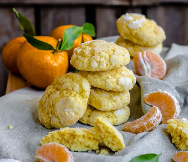 biscotti al mandarino, crinkles cookies