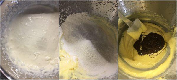 preparazione bundt cake al cioccolato con variegatura alla crema cheesecake