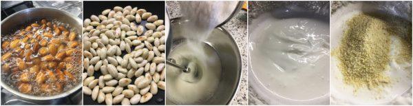 preparazione crostata con confettura e meringa alle mandorle