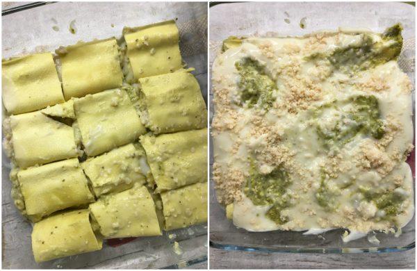 preparazione di rotolini di lasagne con pesto e besciamella