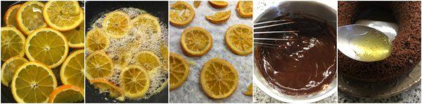 preparazione torta pan d'arancio al cacao con glassa al cioccolato e arance caramellate