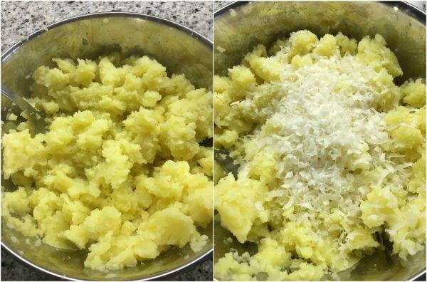 preparazione sbriciolata di patate con cotto e besciamella