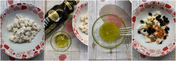 preparazione insalata di merluzzo e salsa di avocado e yogurt