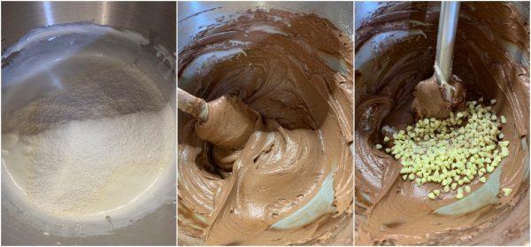 preparazione torta agli albumi con cacao e panna