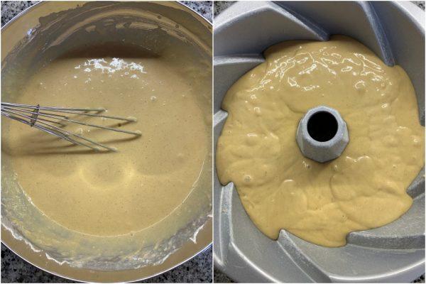 preparazione torta dei 2 minuti al caffè senza burro e senza olio