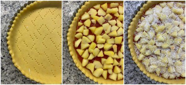 preparazione crostata di mele con confettura di fragole e cocco rapè