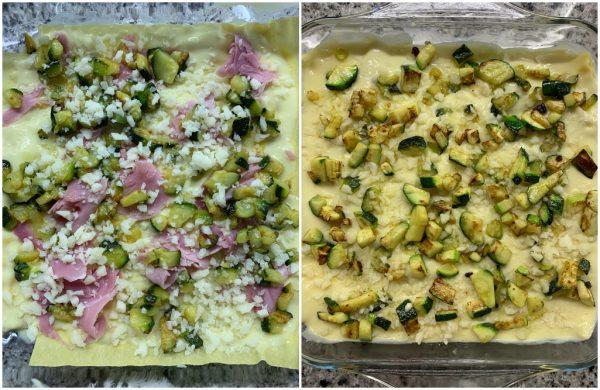 preparazione lasagne con besciamella allo zafferano e zucchine