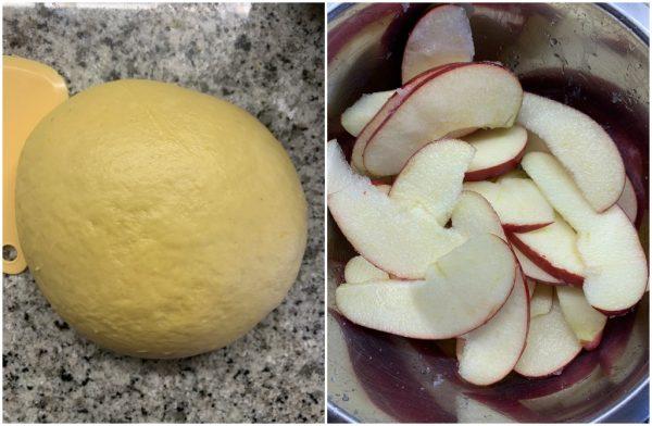 preparazione pan brioche soffice rosa di mele