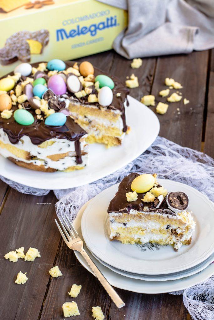 torta di colomba a strati con crema di ricotta e ganache al cioccolato, ricetta di Pasqua