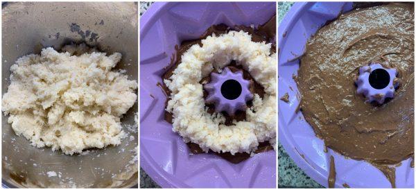 preparazione ciambella al cacao con ripieno cremoso al cocco