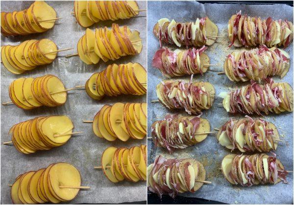 preparazione patate a spirale con pancetta
