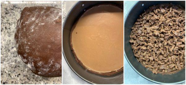 preparazione sbriciolata al cacao con crema al cioccolato al latte