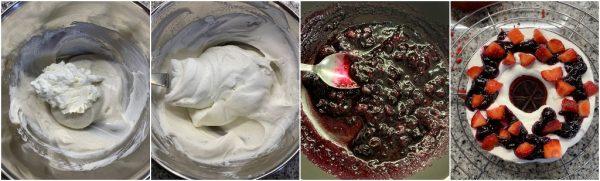 preparazione ciambella red velvet con crema allo yogurt greco, composta di mirtilli e fragole