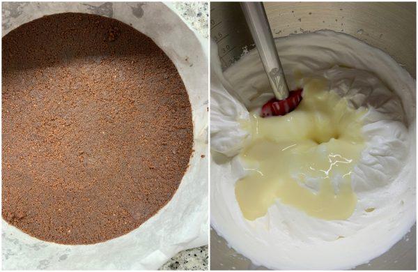 preparazione torta gelato al cocco e cioccolato senza gelatiera