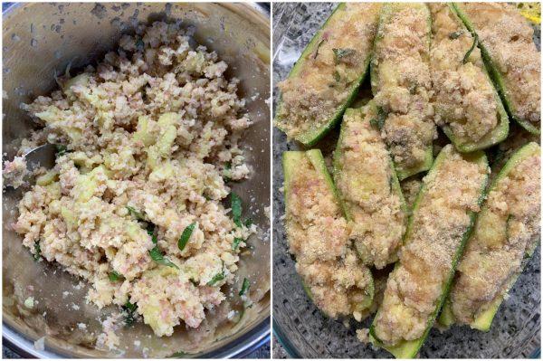 preparazione zucchine ripiene al forno