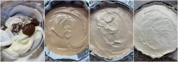 preparazione cheesecake a strati alla nocciolata senza cottura