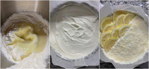 preparazione torta gelato al cocco e limone senza gelatiera