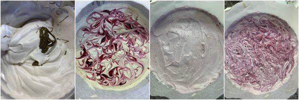 preparazione torta gelato pistacchio e more senza gelatiera