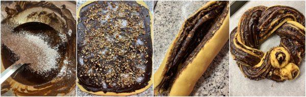 preparazione babka di Ottolenghi o chocolate kranzt cake