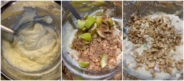 preparazione sbriciolata ricotta, fichi e noci