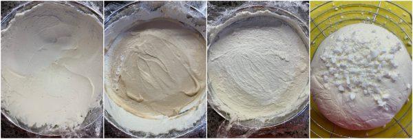 preparazione tartufo gelato panna e caffè