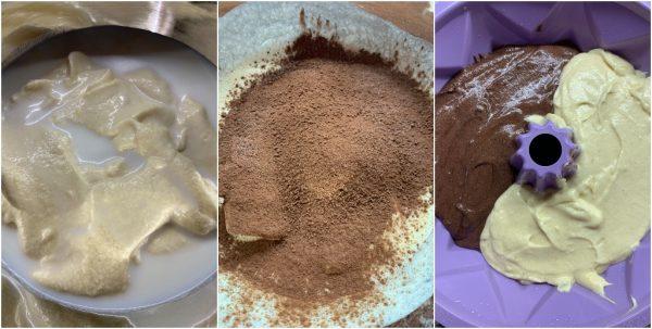 preparazione ciambella abbraccio bigusto alla panna e cacao