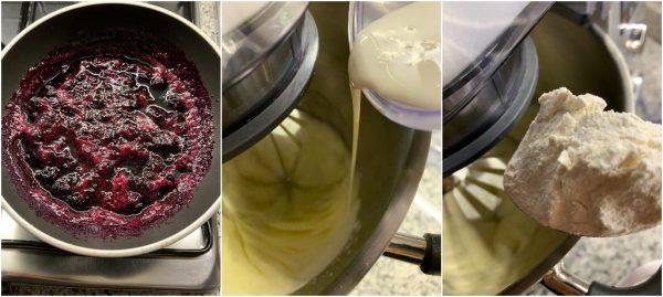 preparazione ciambella alla panna con composta di mirtilli