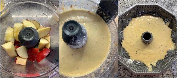 preparazione pan di mela, la torta di mele frullate