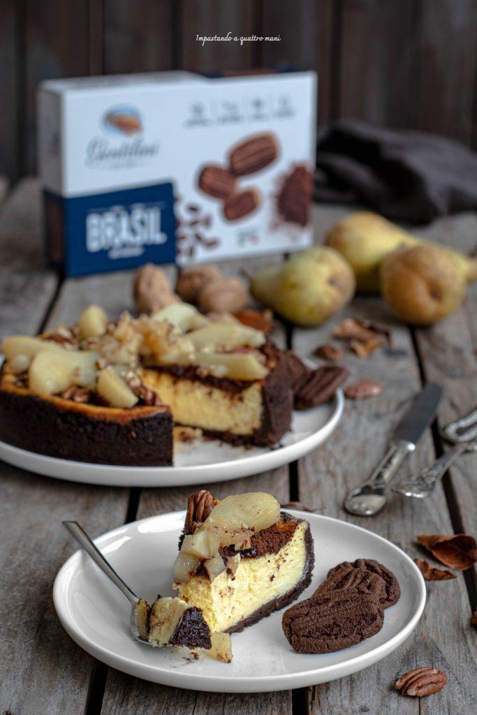 New York cheesecake con pere caramellate al miele e noci