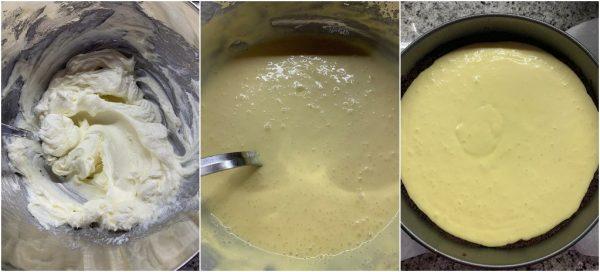 preparazione new york cheesecake alle pere caramellate al miele e noci