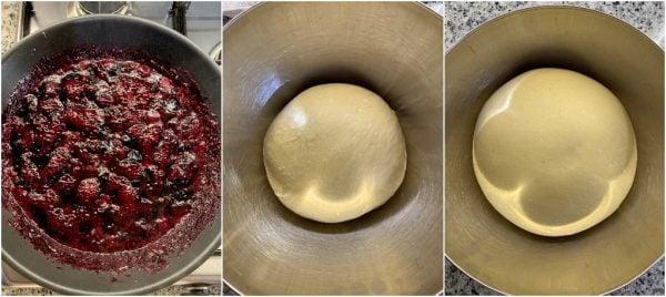 preparazione pan brioche allo yogurt e composta di mirtilli