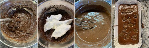 preparazione plumcake al cacao e nutella con solo albumi