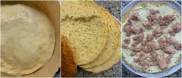 preparazione panettone gastronomico al formaggio