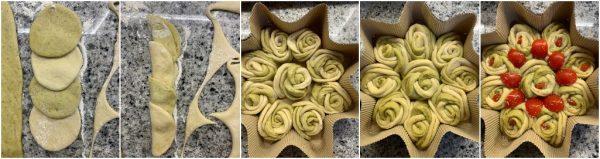preparazione stella di pane al pesto di natale