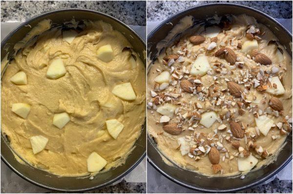preparazione torta di mele e farina di mandorle