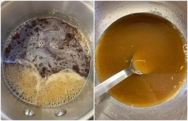 preparazione torta fredda vegan alle noci pecan e salsa al caramello