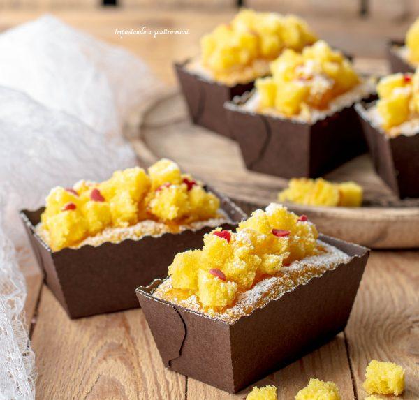 mini plumcake mimosa con crema al limone all'acqua idea per la festa della donna