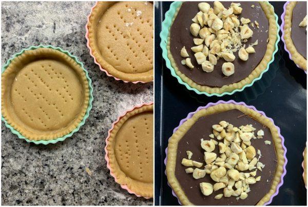 preparazione crostatine cioccolato e nocciole vegane