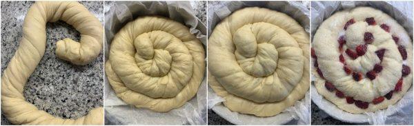 preparazione focaccia contorta dolce con fragole e cioccolato