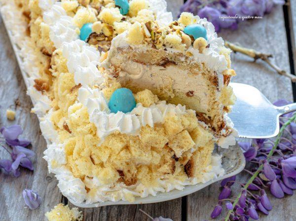 tronchetto gelato con colomba, ricetta riciclo colomba pasquale