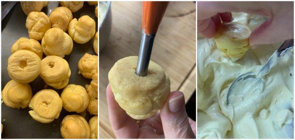 preparazione bignè alla crema come al bar