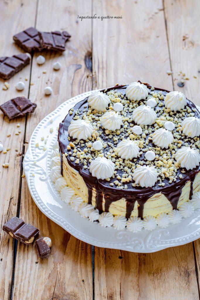 torta di crepes con crema diplomatica e cioccolato