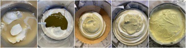 preparazione cheesecake al cioccolato bianco e pistacchio senza cottura