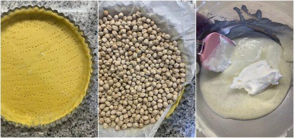 preparazione crostata con crema alla panna e fragole fresche