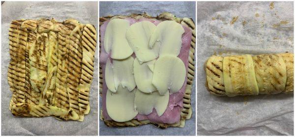 preparazione rotolo di zucchine al forno con prosciutto e provola