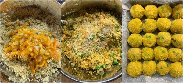 preparazione polpette di cous cous vegetariane