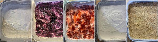 preparazione torta fredda a strati mirtilli e fragole