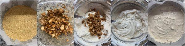 preparazione torta gelato mandorle e amaretti