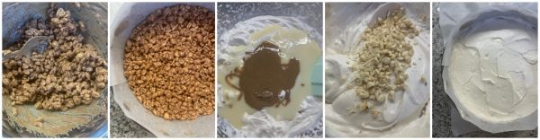 preparazione torta gelato alla nocciola senza gelatiera